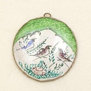 Mina Kari Green Persian Enamel Round Bird Pendant