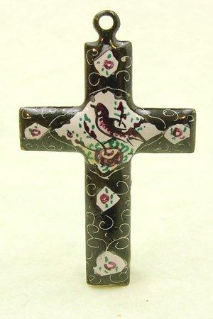 Mina Kari Black and White Persian Enamel Cross