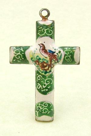 Green Mina Kari Persian Enamel Cross