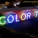 Vintage 1970's COLOR T.V. Hanging Neon * Antique wood Sign