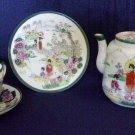 VINTAGE Japanese Trio & Tea pot Hand decorated Geisha Scenes 30s-50ies No Marks
