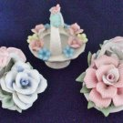 Three Vintage Hand modeled & decorated Bone China Flower Bouquets in Basket Form