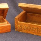 2 Vintage Folk Art Wooden Jewellery, Trinket, Dresser Boxes Hidden Hinges