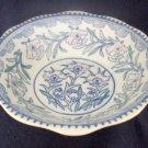 Victorian Blue Transferware Bowl Poppies Hand Tint Underglaze Pink & Green 27 cm
