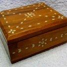 Vintage, Bone Inlaid Hardwood, Jewellery,Trinket, Dresser Box