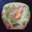 Vintage Chinese Hand Enameled Fruit Decoration Jardiniere, Planter ,Jar or Vase