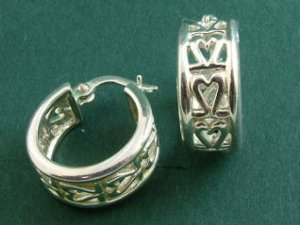 Sterling Silver Lace Heart Huggies