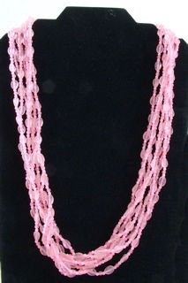 Multi-strand Pink Bead Necklace
