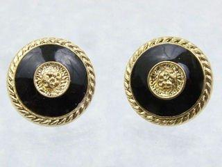 Black & Gold Button Earrings