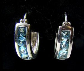 Blue Topaz Huggies