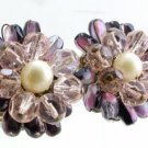 Vintage Glass Bead & Faux Pearl Earrings