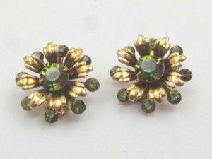 Emerald Green Rhinestone Earrings