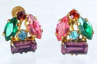 Multi-colored Rhinestone Earrings  pre-WW2