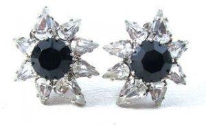 Black Rhinestone Earrings-Vintage