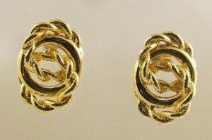 Vintage - Goldtone Twisted Rope Earrings
