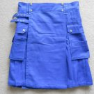 Deluxe blue utility cotton kilts with side pockets