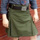 Olive green utility kilt for men and women, made to order in all sizes