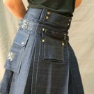 New Scottish Active men Blue Denim Handmade kilt with free DHL shipping