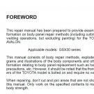 Toyota Avalon 2005-2008 GSX30 series Collision Repair Manual - PDF Manual
