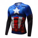 Comic Style Captain America Men's Fitted Long Sleeve T-Shirt