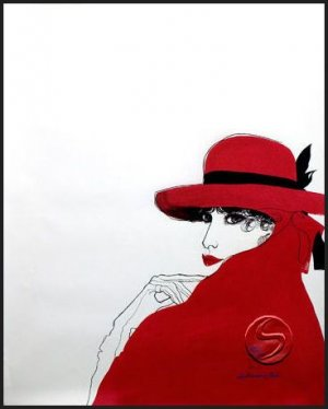 Lithograph Ambiance In Red Contemporary Woman Gallery Art Prints Home Office Decor Poster