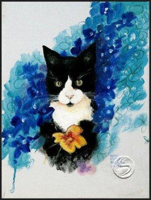 "Black & White Cat Animal Art Prints Home Office Decor 16""x20"" Wall Hanging"