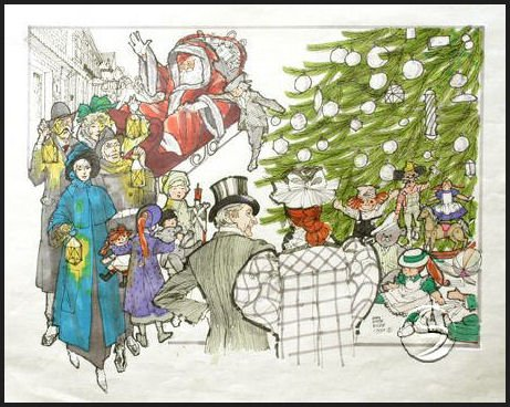 A CHRISTMAS SCENE Holidays Seasonal Gallery Art 5 Linen Note Cards