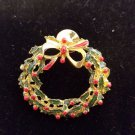 Vintage holiday christmas tree wreath brooch and pin