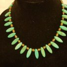 Handmade turquoise necklace and brown necklace both native
