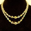 vintage aurora borealis necklace 17 inch 2 strand glass? crystal?  plus earrings