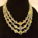 vintage aurora borealis necklace 18 inch triple  strand heavy my favorite