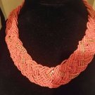 Vintage Boho crafted necklace beaded coral color string of rhinestones mix