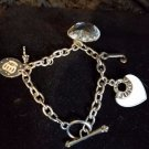 JUICY COUTURE silver tone charm bracelet 5 charms