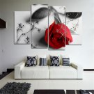 4pcs Modern Huge Wall Art Oil Painting On Canvas Red Rose Unframed Room Decor