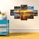 5pcs Modern Huge Wall Art Oil Painting On Canvas Sunset Unframed Room Decor
