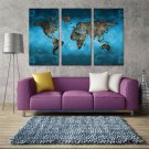 Frameless Huge Wall Art Oil Painting On Canvas World Map Home Decor