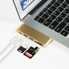 5 In 1 Type-C USB 3.0 Hub For MacBook 12-Inch With USB -C Charging Port  Gold