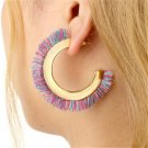 Bohemia Tassel Earrings Alloy Big Stud Earrings For Women Statement Fringe Multicolor
