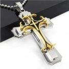 titanium layer three Cross Pendant Stainless Steel Men's necklace jewelry Gold