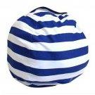 Large Capacity Thickened Stuffed Plush Toy Storage Bean Bag Stripe Fabric   Sky Blue