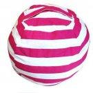 Large Capacity Thickened Stuffed Plush Toy Storage Bean Bag Stripe Fabric   Rose Red