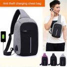Anti Theft Small Chest Pack USB Charge Canvas Travel Sport Sling Bag Gray