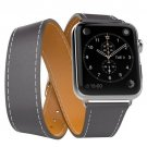 Genuine Leather Replace Wrist Strap Watchband With Adapters For Apple Watch iWatch 38mm  Gray
