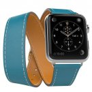 Genuine Leather Replace Wrist Strap Watchband With Adapters For Apple Watch iWatch 42mm  Blue