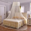 Round Lace Curtain Dome Bed Canopy Netting Princess Mosquito Net For Girls Beige