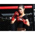 PU Tiger Pattern Boxing Gloves Professional Sanshou Thai Kickboxing Gloves  Red