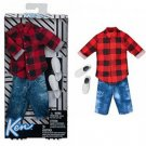 Barbie Ken Red Plaid Shirt & Demin Shorts Fashion Pack by Mattel - #FKT47
