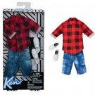 Barbie Ken Red Plaid Shirt & Demin Shorts Fashion Pack by Mattel - #FKT47