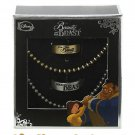 Disney Beauty & the Beast His & Hers Ring Pendant Necklace Set