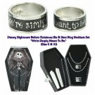 Disney NBC Nightmare Before Christmas Jack & Sally His & Hers Meant to Be Ring Set in Coffin Box